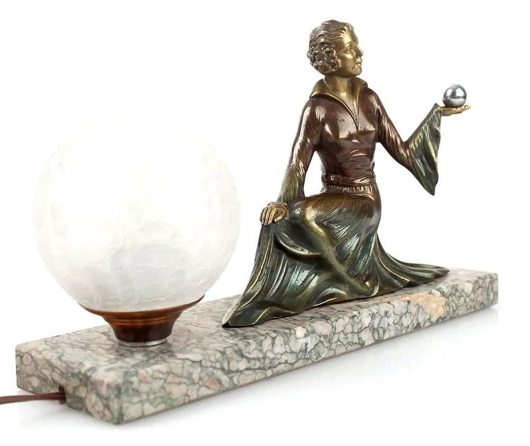 French Art Deco Woman Sculpture Figurine Table Lamp Light