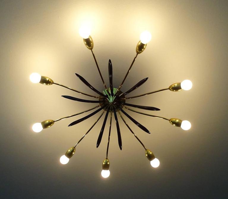 MidCentury Sunburst Flush Mount Light Brass Ceiling Fixture at