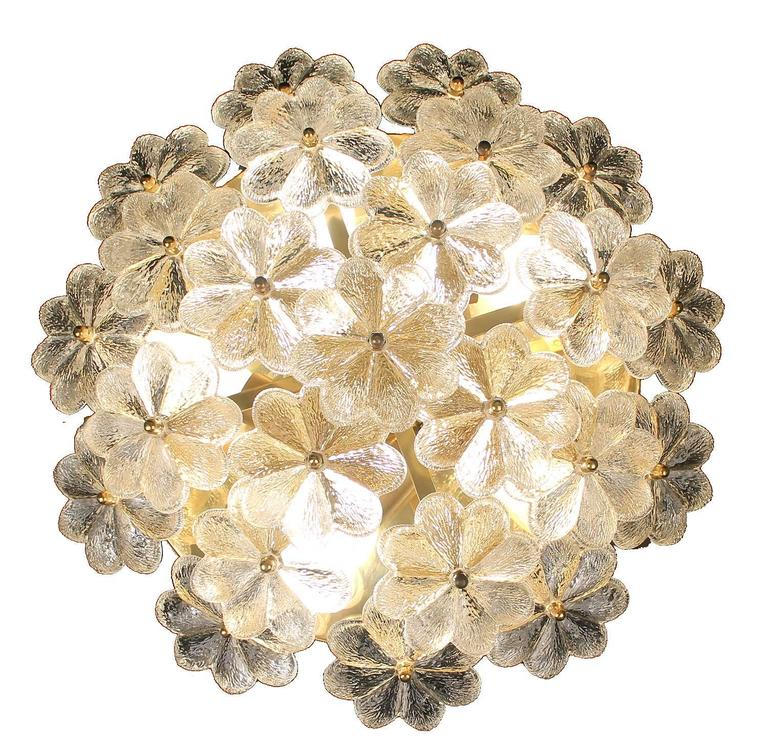 Palme Mid Century Modern Flower Flush Light or Sconce, 1960s, Brass and Glass