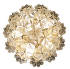 Ernst Palme Flush Light,  Brass and Glass,  1960s, Flower Theme