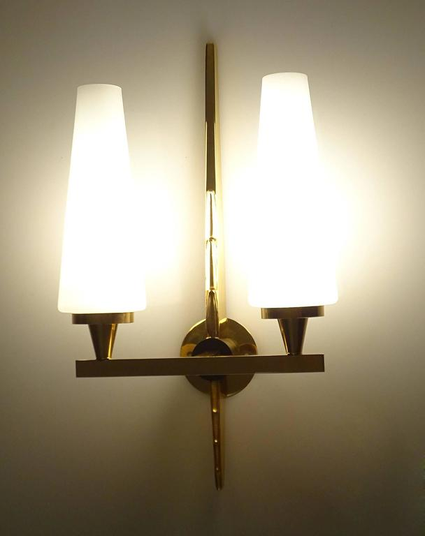 Pair Large Maison Arlus Glass Brass Mirror Vanity Sconces, Gio Ponti ...