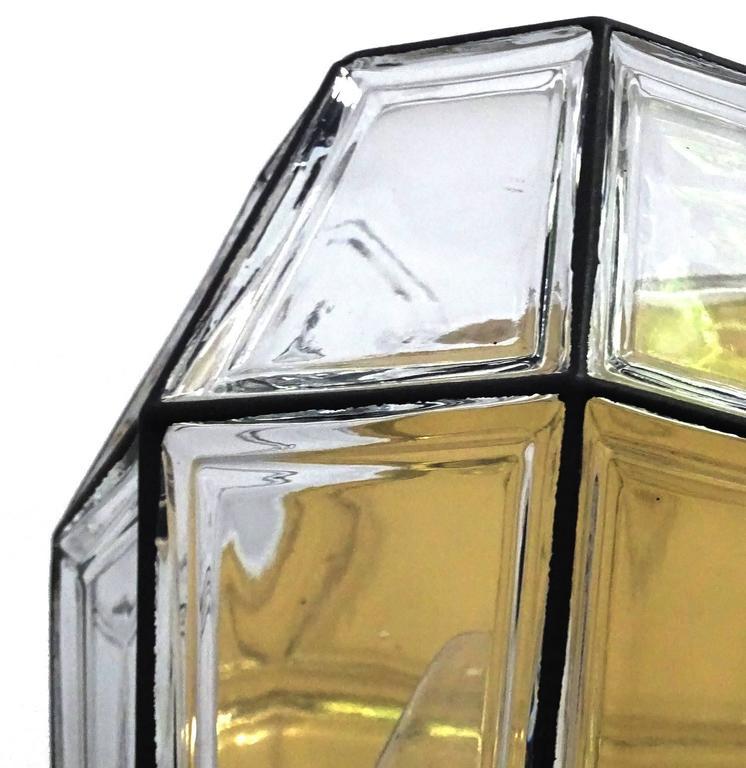 Large Mid Century Modern Limburg Glass and Brass Sconce,  Vistosi Seguso Era For Sale 4