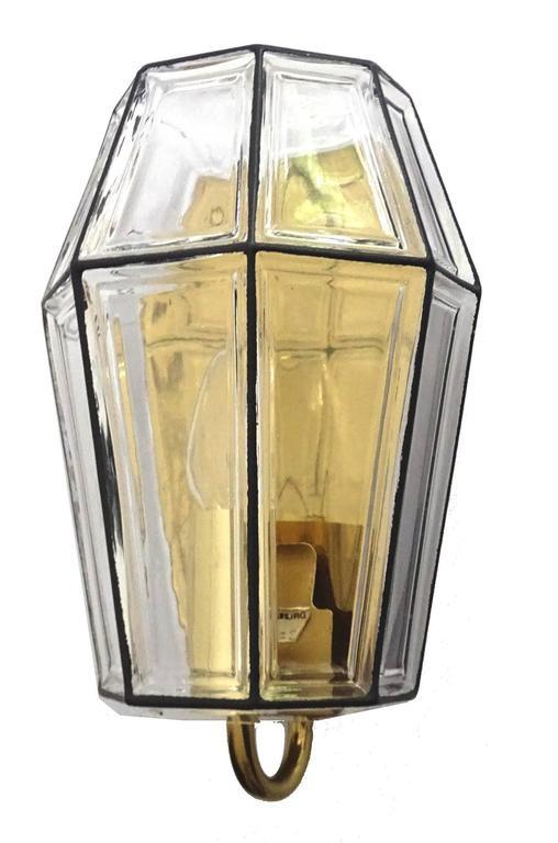 German  Large Mid Century Modern Limburg Glass and Brass Sconce,  Vistosi Seguso Era For Sale