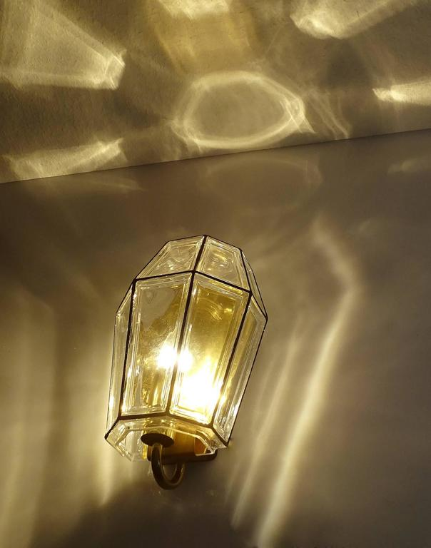 Large Mid Century Modern Limburg Glass and Brass Sconce,  Vistosi Seguso Era For Sale 2