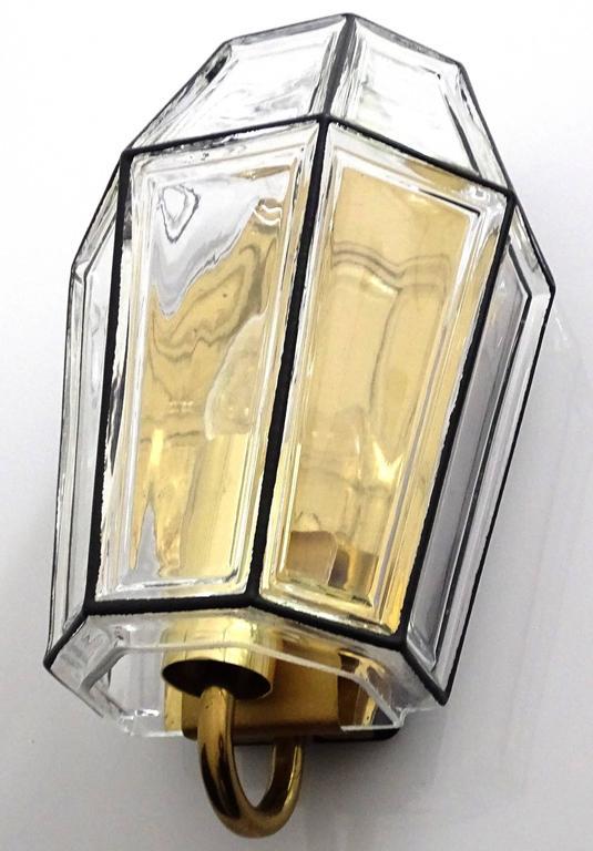 Large Mid Century Modern Limburg Glass and Brass Sconce,  Vistosi Seguso Era For Sale 3