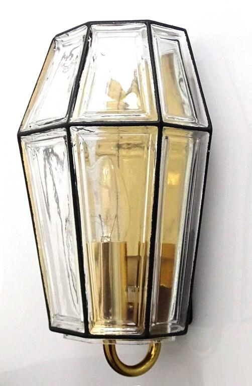 Large Mid Century Modern Limburg Glass and Brass Sconce,  Vistosi Seguso Era In Excellent Condition For Sale In Bremen, DE