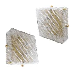 Pair of Square Murano Glass and Gold Brass Sconces, 1960s Modernist  Wall Lights