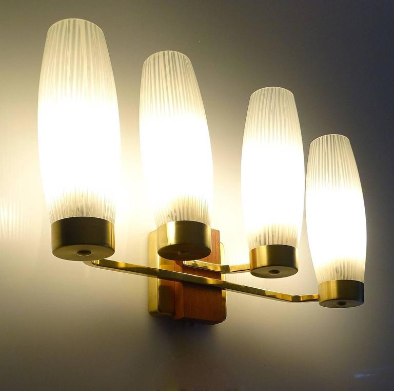 Pair Large Kaiser Brass and Glass Sconces, 1960s Danish Modern Design For Sale at 1stdibs