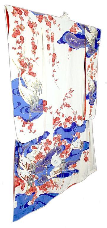 Art Deco Vintage Silk Silver Brocade  Japanese Ceremonial Kimono, MidCentury  For Sale