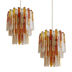 Pair Large Venini Murano Glass Chandelier Pendant Light, Style of Vistosi Seguso
