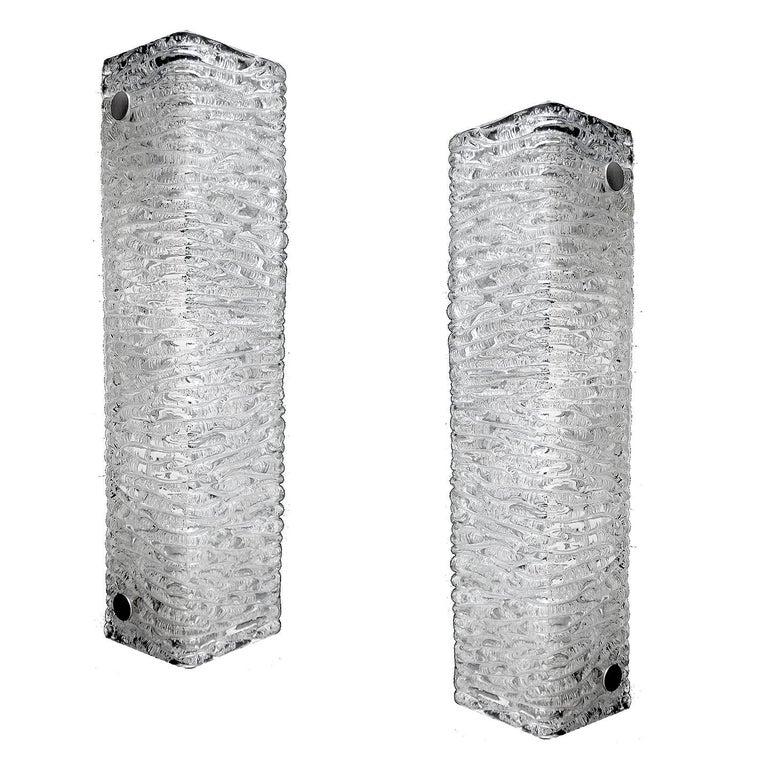 Pair  Kaiser Glass Chrome Sconces, 1960s