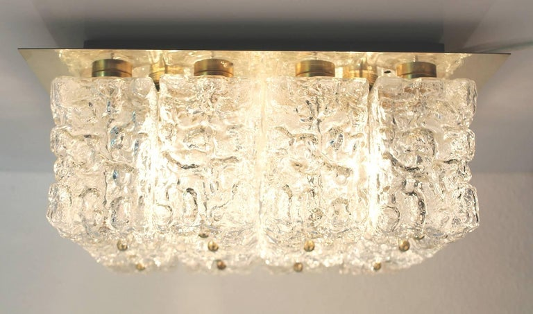 Large Mid Century Limburg Chandelier, 1960s  Glass and Brass In Good Condition For Sale In Bremen, DE