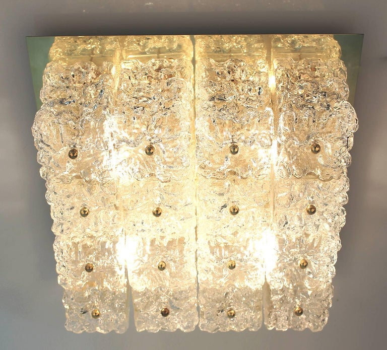 German  Large Mid Century Limburg Chandelier, 1960s  Glass and Brass For Sale