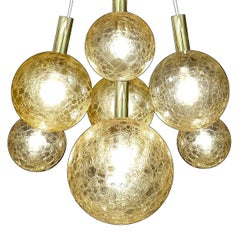 Large Seven Lights Glass Globes and Brass Chandelier, Modernist Pendant Lamp