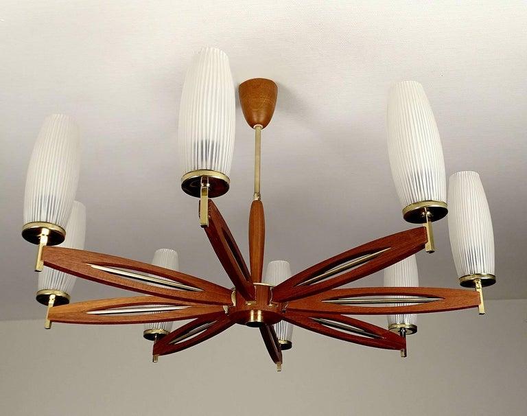 Very large glass and teak chandelier 1960s danish modern for Very modern lighting