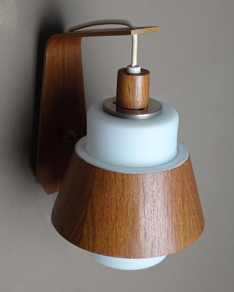 Pair of  Scandinavian Midcentury Danish Modern Teak Brass Glass Sconces, 1960s For Sale 3