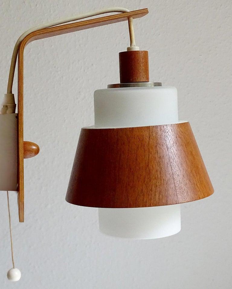 Mid-Century Modern Pair of  Scandinavian Midcentury Danish Modern Teak Brass Glass Sconces, 1960s For Sale