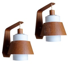 Pair of  Scandinavian Midcentury Danish Modern Teak Brass Glass Sconces, 1960s