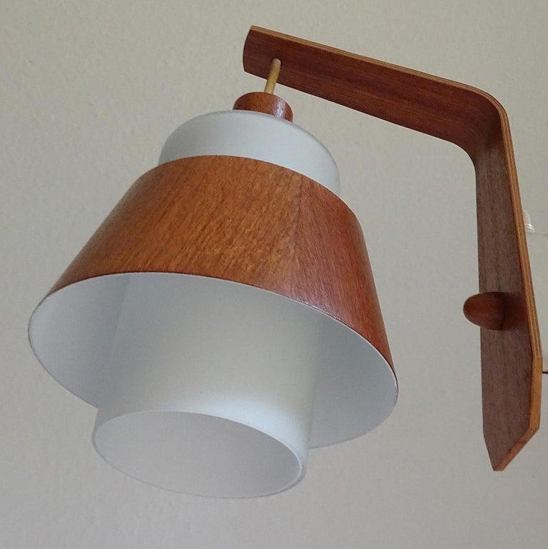 Mid-20th Century Pair of  Scandinavian Midcentury Danish Modern Teak Brass Glass Sconces, 1960s For Sale