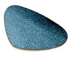 Stunning Large Mid Century Asymetric Turquoise Enamel Mosaic & Brass Bowl, 1960