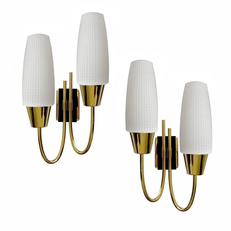 Pair Maison Arlus  Modernist Mirror Vanity Sconces, Glass Brass , Stilnovo Style
