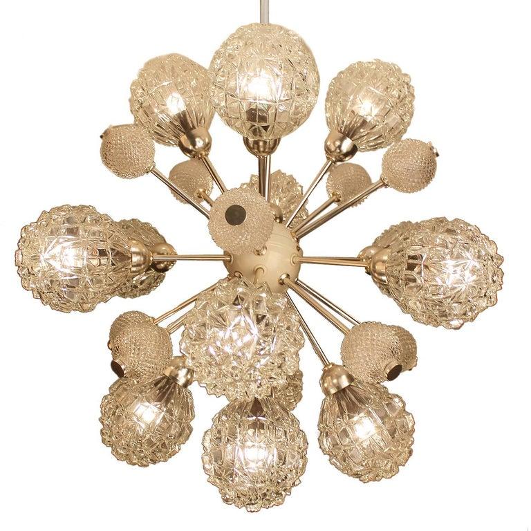 Very Large MidCentury 13 Lights Sputnik Glass Chandelier, Stilnovo Style