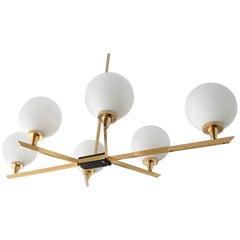Large Maison Arlus Six Light Brass Sputnik Chandelier,   Stilnovo Gio Ponti Era