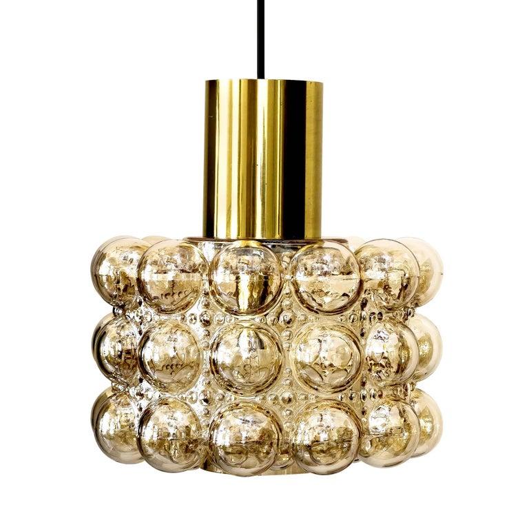 Large Limburg Bubble Glass and Brass Chandelier Pendant Light, Gio Ponti Era