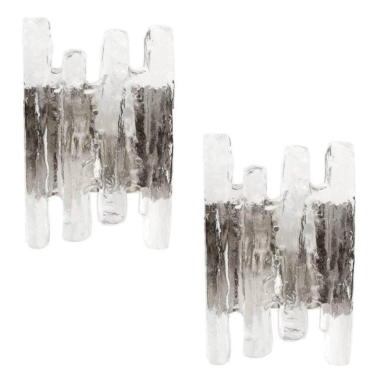 Pair of  MidCentury Kalmar Murano Glass Sconces,  1960s