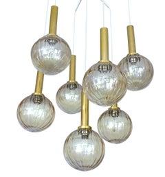 Large Limburg Seven Light  Brass Glass Globe Chandelier Pendant,  Gio Ponti Era