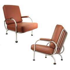 Pair of Warren McArthur Lounge Chairs,  1930s Art Deco  Modernist Design