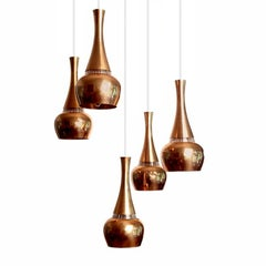 Fog & Morup  MidCentury Orient Copper Glass Chandelier Pendant Lamps, 1960s