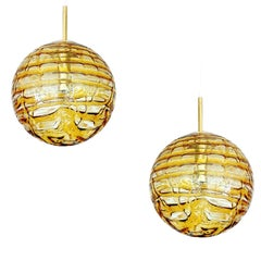 Pair  Large MidCentury Doria Murano Glass Globe Brass Pendants Lights Chandelier