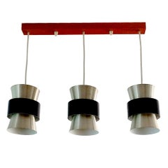 Large Danish Modern Three-Light Chandelier, Style of Hammerborg Fog & Mørup