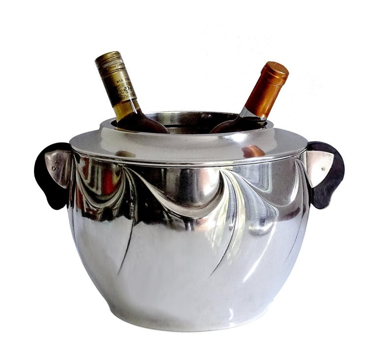 French Art Deco Silver Plate Champagne Wine Cooler Ice Bucket 1930s Wave Pattern