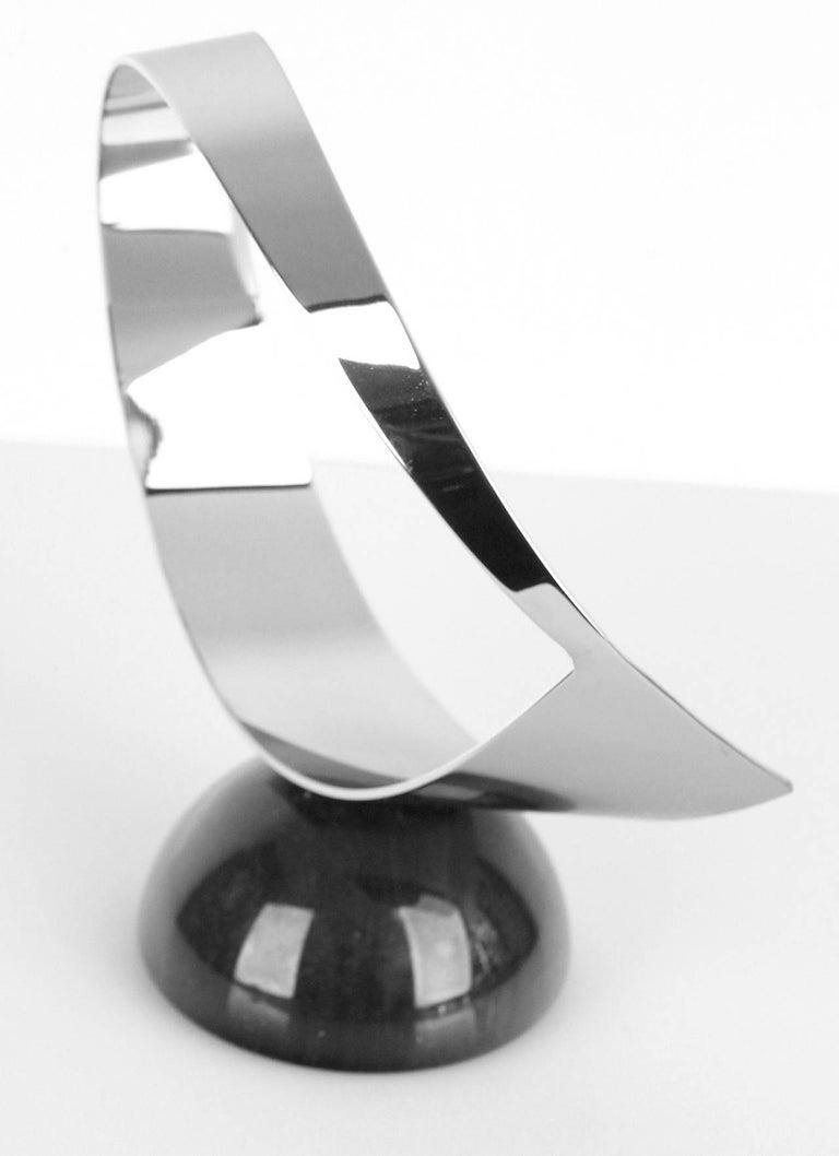 American Vintage Curtis Jere Chrome and Marble Sculpture, 1960s Modernist Design For Sale