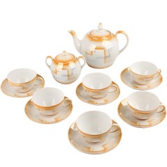 French Art Deco China Porcelain Tea Set with Patterns, Meissen Style