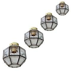 Four  Midcentury Jakobsson Limburg Glass Brass Flush Mount Light, Gio Ponti Era