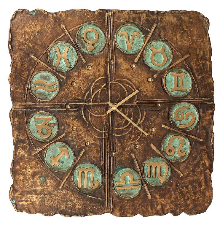Very Large Italian MidCentury Bronze Wall Clock Zodiac Signs