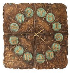 Very Large Italian Mid-Century Bronze Wall Clock Zodiac Signs, 1960s Brutalist