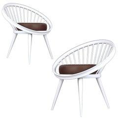 Pair of Yngve Ekström Lounge Chairs, 1960s Danish Modern, Modernist Design