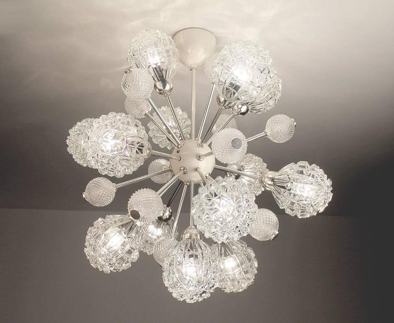 Mid-Century Modern  Large Sunburst Glass Chandelier,  1960s Modernist  Stilnovo Style Pendant Lamp  For Sale