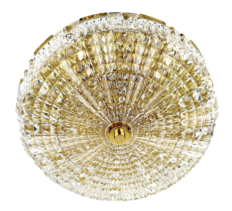 Orrefors Cut Crystal Glass Brass Flush Ceiling Light Carl Erlund At 1stdibs