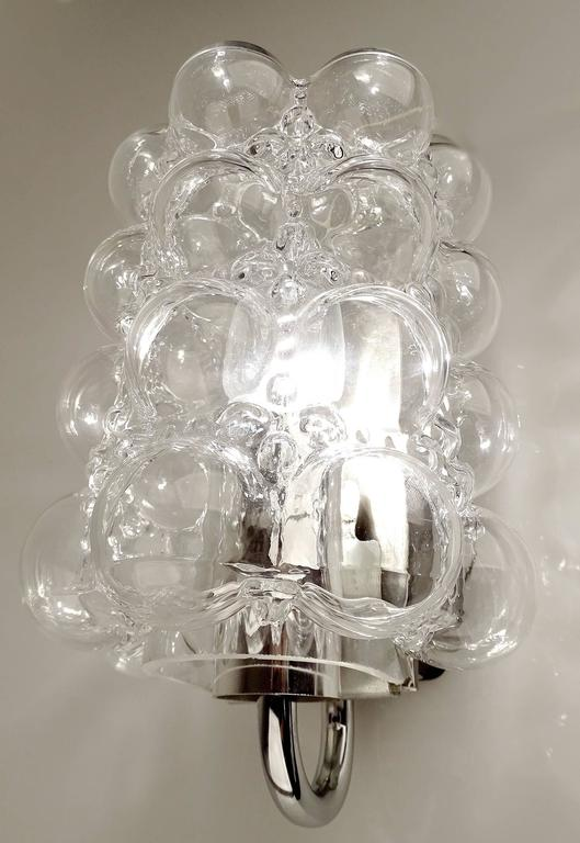 Pair of Limburg Chrome Bubble Glass Sconces Wall Fixtures Modernist Design 60s at 1stdibs