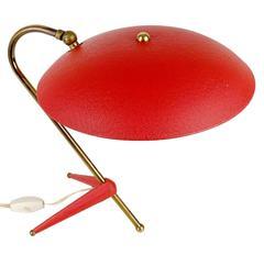 Very Elegant Tripod Desk Lamp, 1950s Modernist Brass Design, Stilnovo Style