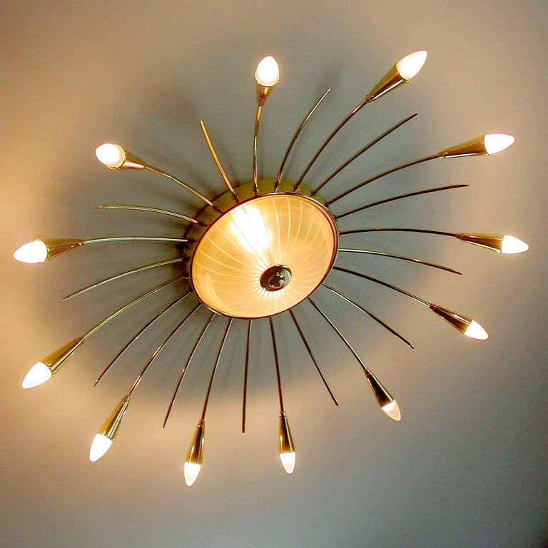 Large MidCentury  Sputnik Chandelier Pendant Light, Stilnovo Gio Ponti Era  In Good Condition For Sale In Bremen, DE