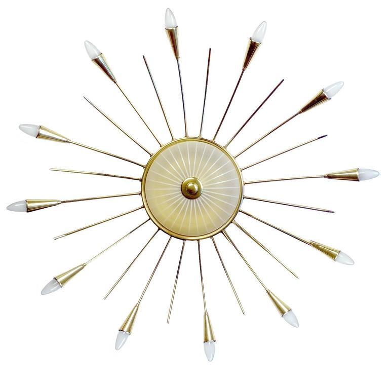 Brass Large MidCentury  Sputnik Chandelier Pendant Light, Stilnovo Gio Ponti Era  For Sale
