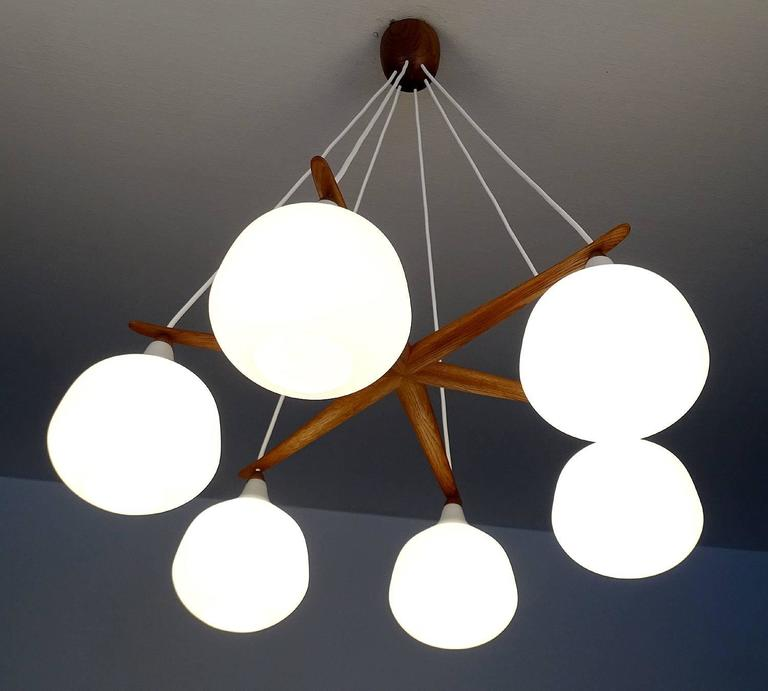 Very large luxus glass globes chandelier 1960s danish for Very modern lighting