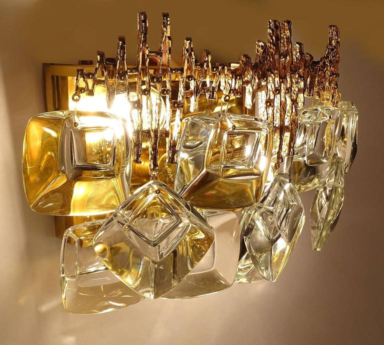 Austrian Pair MidCentury Palwa Gold-Plated Brass Crystal Glass Vanity Sconces,  1960s For Sale