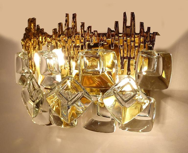 Mid-20th Century Pair MidCentury Palwa Gold-Plated Brass Crystal Glass Vanity Sconces,  1960s For Sale
